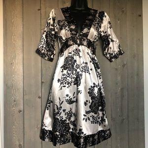 Delia*s Dress Empire Waist Tie Back  Black Cream